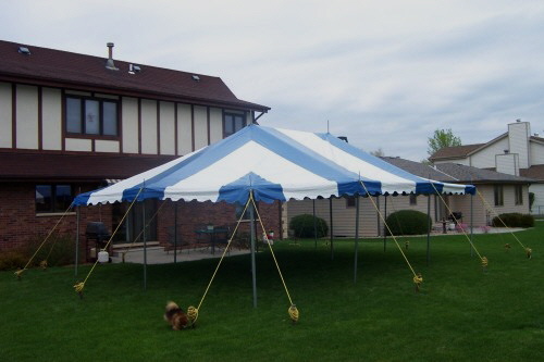 20 X 30 Blue And White Party Tent Set For A Backyard Graduation