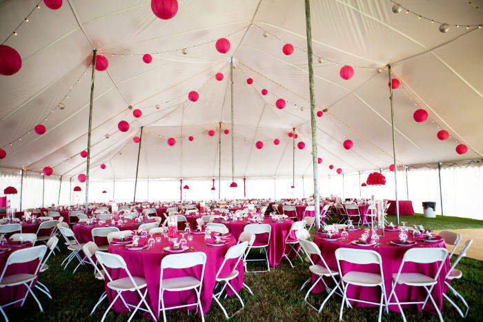 60 X 90 white wedding tent rental in NE decorated in pink & 60 X 90 White Wedding Tent Rural NE