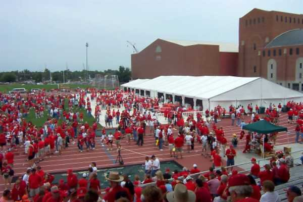 Image of clear span tent LT&A SUPER TENT&#174 at Husker Nation