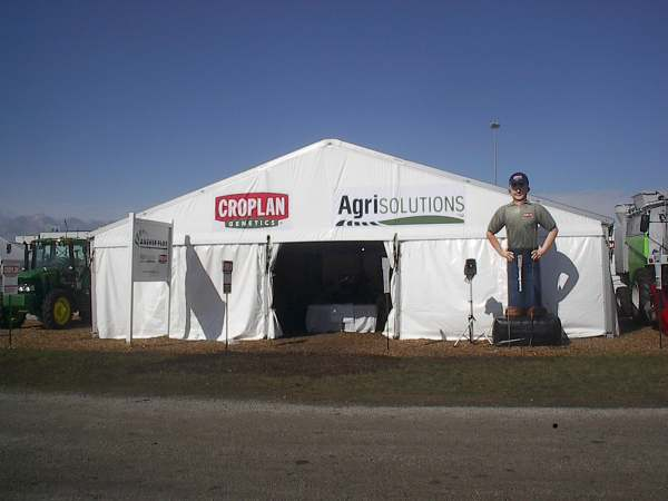 IMAGE of 40 X 45 tent with custom graphics on gable end & CUSTOM MADE 40 X 45 LTu0026A SUPER TENT® WITH CUSTOMER LOGOS