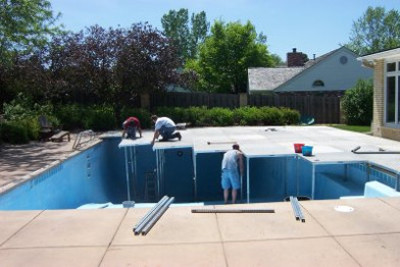 POOL TO BE COVERED Image showing set up of decking in pool & Tent set over pool with Lincoln Tent Decking Over Pool