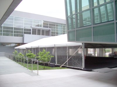 Image of tent set on the decking