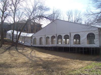 Side view of tent on decking
