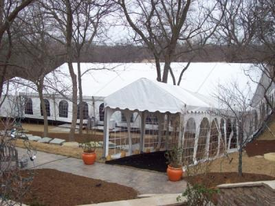 Exterior view of completed tent set
