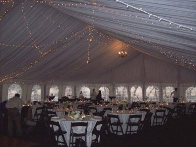 Interior view of completed tent set