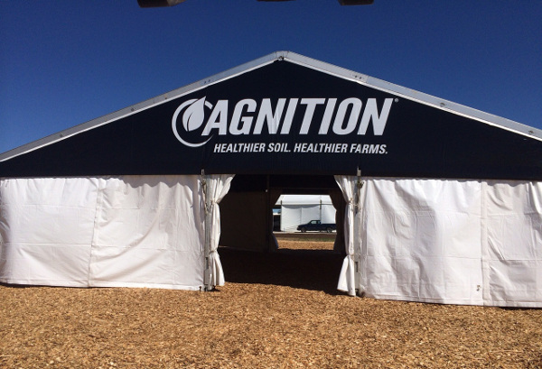 IMAGE of 40 X 35 black tent with custom graphics on gable end & CUSTOM MADE 40 X 30 LTu0026A SUPER TENT® WITH CUSTOMER GRAPHICS
