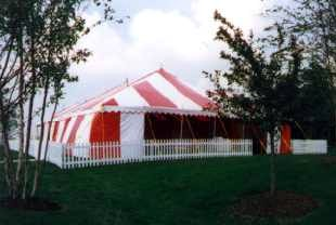 image of 40 X 60 Red and White Commercial Tent with white fence & Large Tent - Omaha Nebraska Tent Rental- 40 X 60 Event Tent