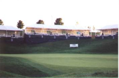 Image of skyboxes for golf tournament from front