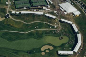 Image of skyboxes on golf course from above