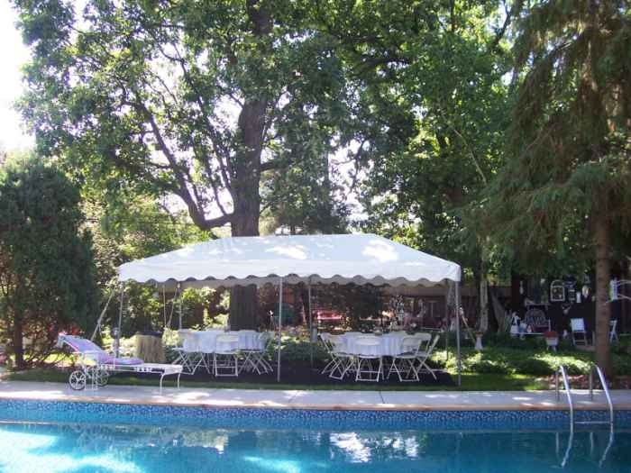 IMAGE Of 10 X 20 White Frame Tent For Poolside Wedding Reception