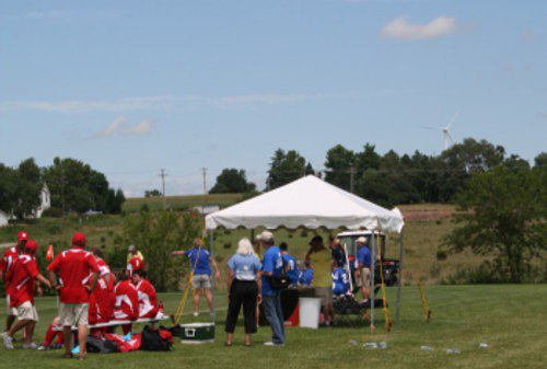 Shade Canopy For Officals And Sign In At Athletic Event