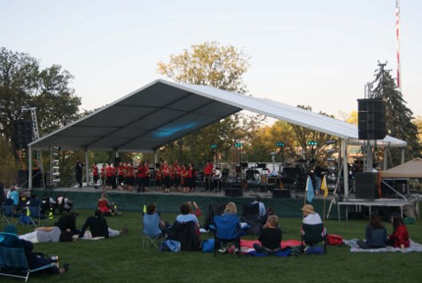 Image of concert at Turner Park Omaha, NE concert tent used for outdoor stage cover