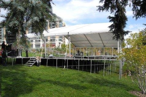 Image decking used for a stage with stage cover in Omaha, NE Turner Park