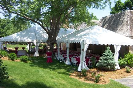 A group of Unique™ frame tents set around tree - Omaha NE tent rental : yard tents - memphite.com