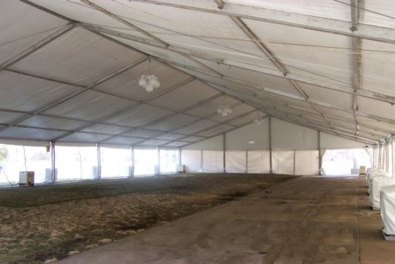 Image of clear span tent with weights